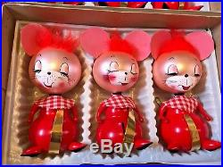 Vintage Figural Hand Blown Glass Mouse Mice Christmas Ornaments Imported Andes