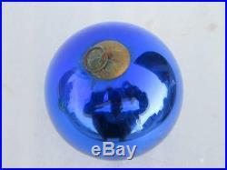 Vintage Fine Cobalt Blue 4.25' Glass Original Kugel Christmas Ornament, France