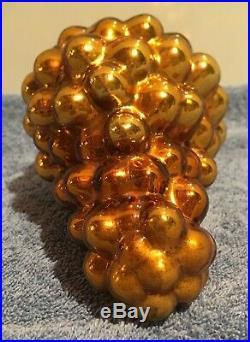 Vintage German Christmas Kugel Grape Cluster Heavy Gold Mercury Glass RARE