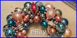 Vintage Glass Christmas Ornament Wreath Hand Made 17 Blue Pink White (169)