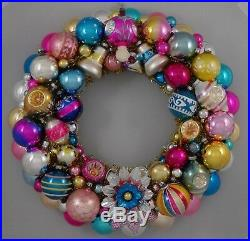 Vintage Glass Christmas Ornament Wreath Hand Made 19 Blue Pink Gold (134)
