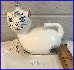 Vintage Italian Art Glass De Carlini CAT Christmas Ornament Hand Painted