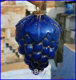 Vintage Old Antique Extremely Rare DEPO Grape Cluster Glass Blue Christmas Kugel