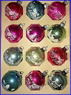 Vintage Shiny Brite 2.5 Glass Stencil Nursery Rhymes Xmas Songs Ornaments IOB