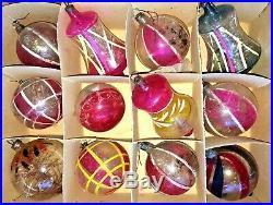 Vintage Unsilvered German War Glass Christmas Ornaments WW2 SUPER RARE Tinsel