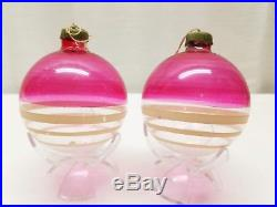 Vintage WWII Unsilvered 4 Jumbo Shiny Brite Christmas Ornaments Box Mica Balls