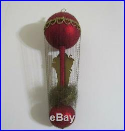 Vintage wire wrapped balloon Christmas ornament Germany girl with toys presents