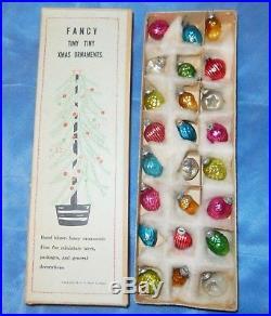 Vtg 24 Box Heart Nut Berry Pinecone Glass Feather Tree Xmas Ornaments Japan Nice