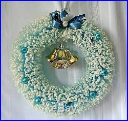 Vtg Blue Flocked Bottle Brush Wreath 16 Christmas Puleo's Glass Ornaments IOB