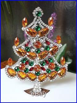vtg husar d czech glass rhinestone jeweled christmas tree free standing ornament - Jeweled Christmas Trees