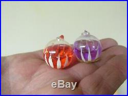 Vtg Italy Liquid Filled Kaleidoscope Indent Mercury Glass Christmas Ornaments