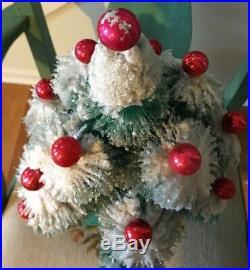 Vtg Kitschy Bottle Brush Flocked Snow Christmas Tree Red Ornaments Mercury Glass