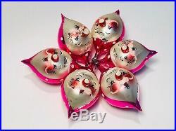 Vtg Lot De Carlini Mercury Glass Santa Clause Christmas Ornaments Italy Antique