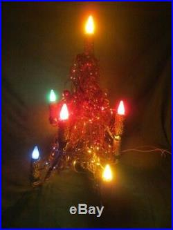 Vtg Mirostar Aluminum Tinsel Lighted Christmas Tree Glass Ornaments Working