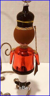 Vtg Toy Soldier Guard Figural Glass Christmas Ornament De Carlini Italian Italy