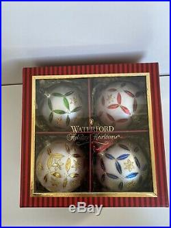 WATERFORD Epiphany Adornments HEIRLOOMS SET/4 GLASS CHRISTMAS ORNAMENTS/BALLS