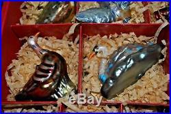 WILLIAMS SONOMA 12 Days of Christmas Blown Glass Ornament Set in Box EUC RARE