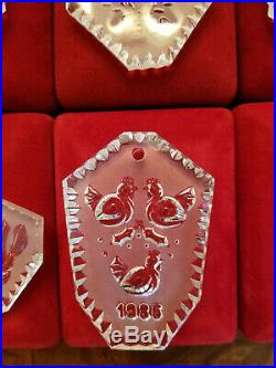 Waterford Crystal set 12 Days of Christmas Ornaments inc 1982 Partridge A grade